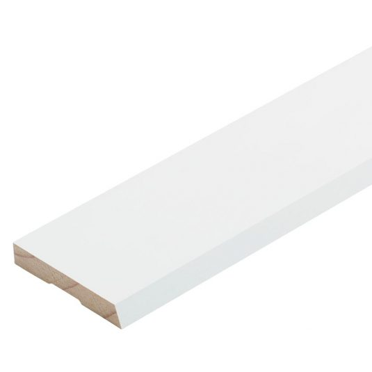 A piece of bevelled timber on a white background.